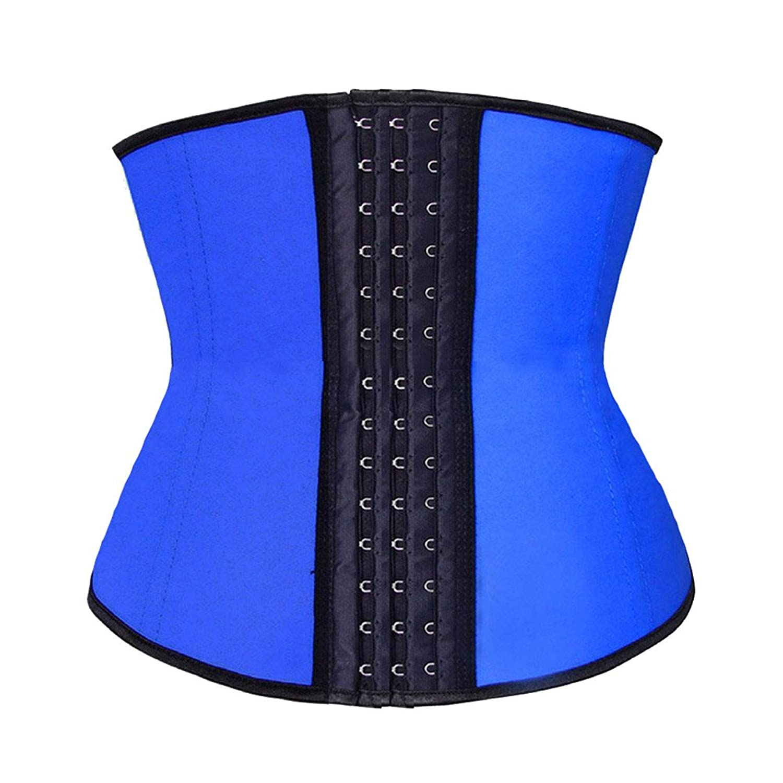 Beladyful Womens Short Torso Blue Latex Underbust Corset Waist ...