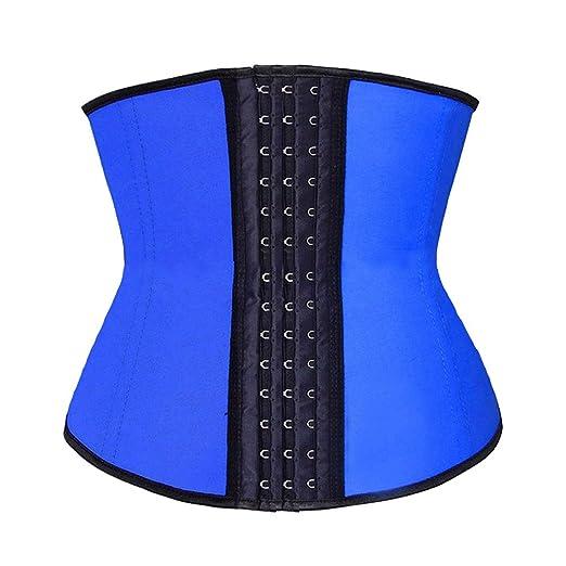 6aa94b4177f Beladyful Womens Short Torso Blue Latex Underbust Corset Waist Training  Cincher Soft Steel Boned Body Shaper