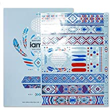 PREMIUM Pocahontas Gypsy Tribal Colorful Metallic Flash Tattoos - White & Blue