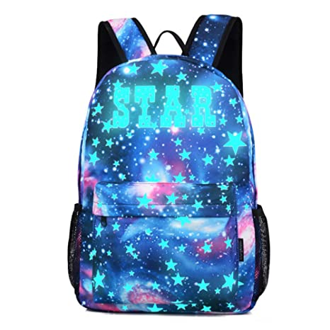 Feicuan Mochilas Escolar de Ocio Luminous Galaxy Impresión Ligera Mochila Infantiles Juveniles Bolso Lona Bolsa de