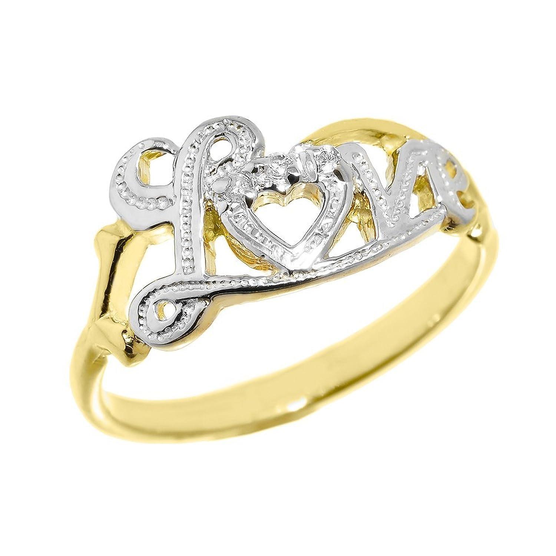 Dainty 10k Yellow Gold High Polish Diamond Love Script Statement Ring