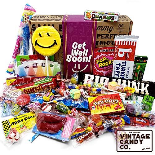 GET WELL SOON FEEL BETTER CARE PACKAGE- Nostalgic Decade Candies GIFT BOX - Fun Gag Gift Basket For Boy or Girl - PERFECT For Adults, College Students, Friend, Teens, Man or Woman