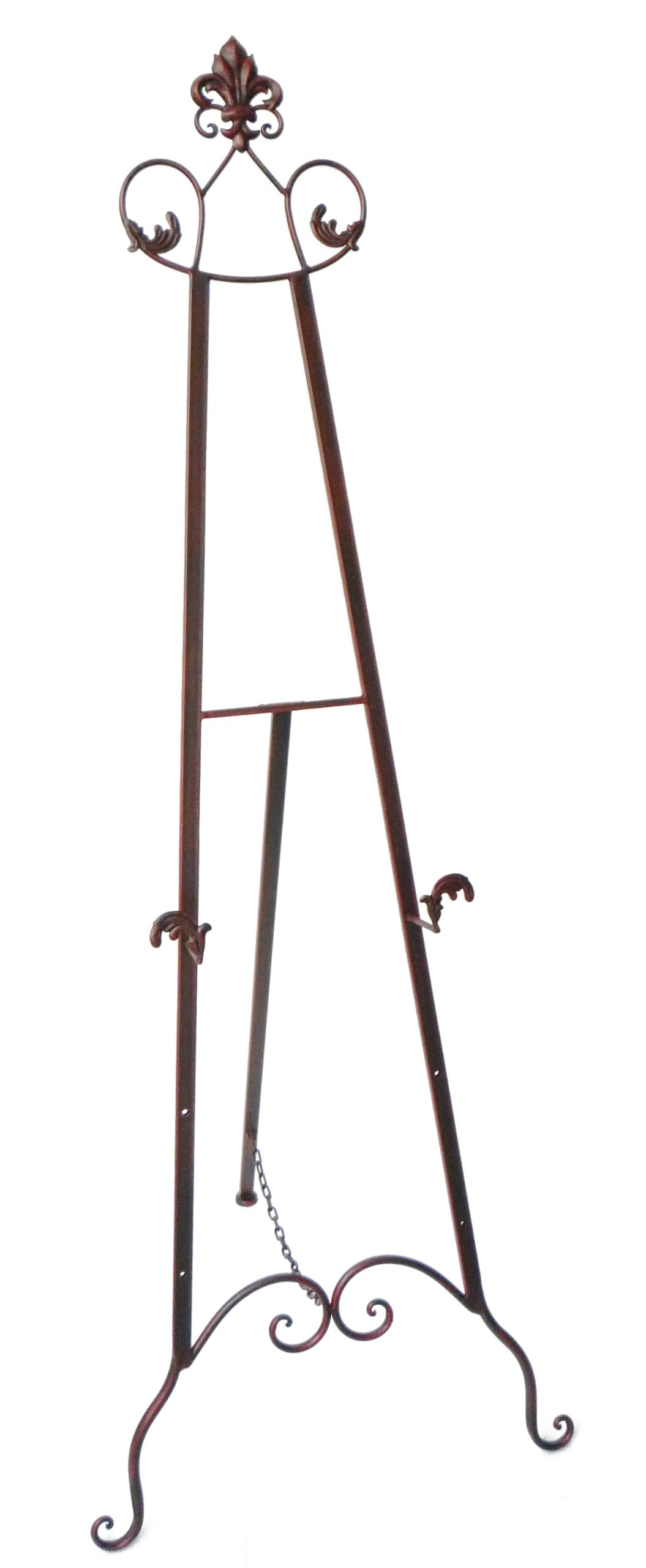 Designstyles Decorative Metal Easel Stand - Adjustable Floor Display for Art Pieces, Signs, Mirrors and Chalk/Dry Erase Boards - 59'' Tall, Antique Finished Iron, Bronze - Royal Accents