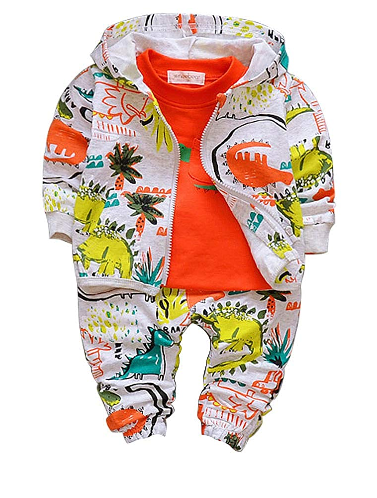 ARAUS Baby Boy Dinosaur Jacket + Top + Trousers Long Sleeve Autumn Clothes Outfit