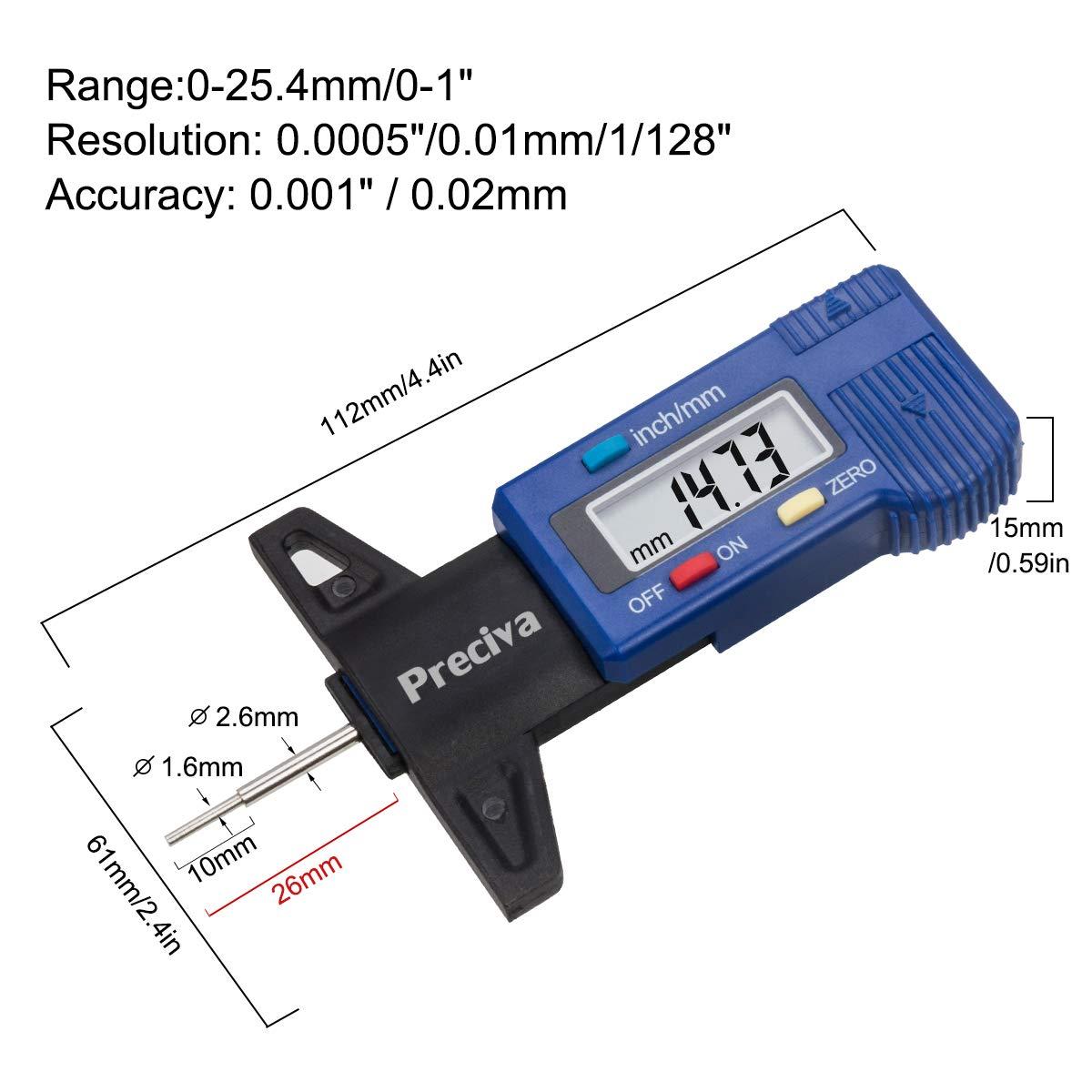 0 a 11 mm Medidor Profundidad Neumaticos Medidor de Dibujo de Neum/áticos para Medir la Profundidad de Los Neum/áticos