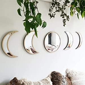 N /C 5PCS Acrylic Decorative Mirrors, DIY Wooden Moon Phase Mirror for Living Room Bedroom Decor (Brown, One Size)