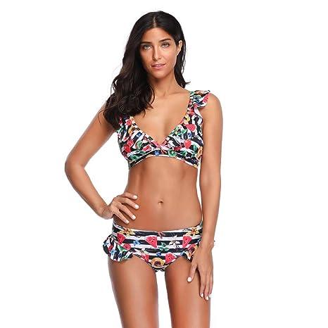 Conjunto de Bikini de Las Mujeres, Traje de baño Floral Moda Sujetador Push-Up