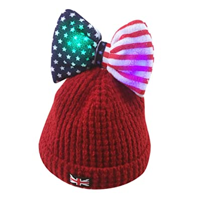 e1c2ca0f4 Suit for 0-5 Years old Kids,DIGOOD Baby Girls Boys Cute Bowknot Light Flash  Cotton Knitting Beanie Hat