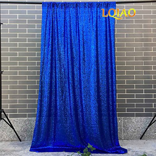 - LQIAO 4FTx10FT-125CMx300CM Royal Blue Sequin Backdrops,Party Wedding Photo Booth Backdrop Decoration,Sequin curtains,Drape,Sequin panels