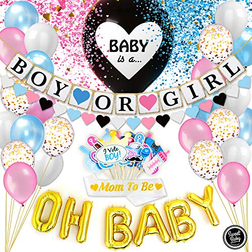 Sweet Baby Co. Baby Gender Reveal Party Supplies for Boy or Girl Baby Shower | Gender Reveal Decorations Kit - Jumbo Black Balloon, Confetti, Banner, OH BABY Balloons, Photo Props, -