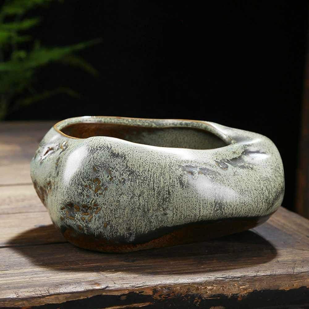 Gcclcx Maceta de cerámica Retro Hogar de Escritorio Creativo Suculento Verde plantado Utensilios de bambú en Maceta Pastoral Chino