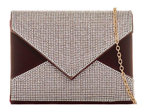 Clutch 4 Ladies Leather Bridal Diamante Purse Bag Faux Women's Party Burgundy Handbag KB025 Suede RqqIp7