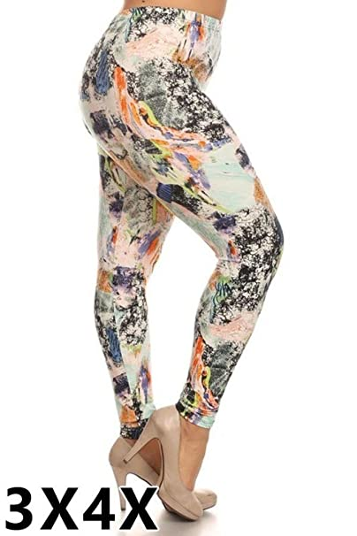 a7a176a3094 New Kathy Womens Plus Size 1X Abstract Print Brushed Leggings at ...