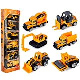 Toys : JellyDog Inertia Toy Early Engineering Vehicles Friction Powered Kids Dumper, Bulldozers, Forklift, Tank Truck, Asphalt Car And Excavator Toy For Children Kids Boys And Girls, Set of 6