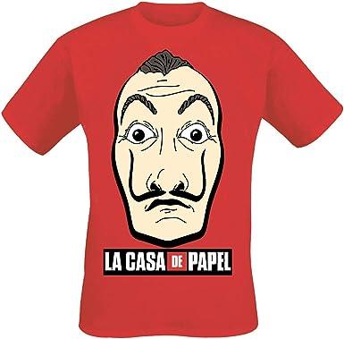 La Casa De Papel - Máscara y Logo Camiseta Hombre - Rojo: Amazon.es: Ropa y accesorios