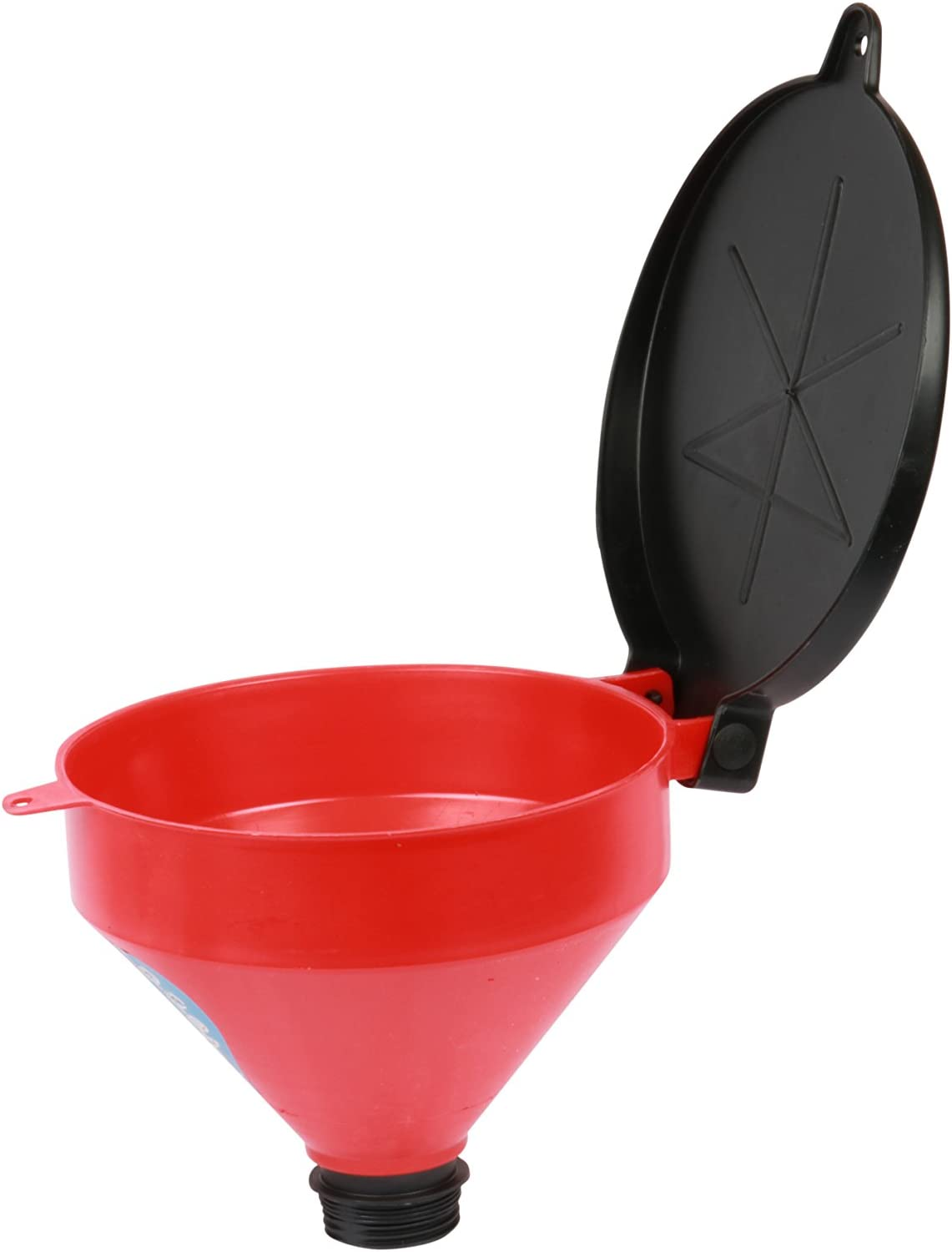 "Funnel King 32425 Drum Funnel with Screen and Lockable Lid – Spout Length 1 3/8"" with 4 Quart Capacity, Spill-Free and Polyethylene Funnel with Hang Hole for Storage"