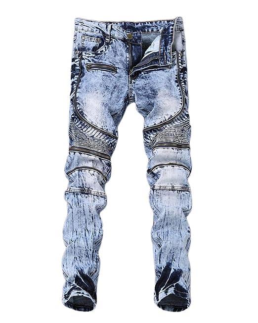 GladiolusA Pantalones Moto Vaqueros para Hombre Denim Jeans ...