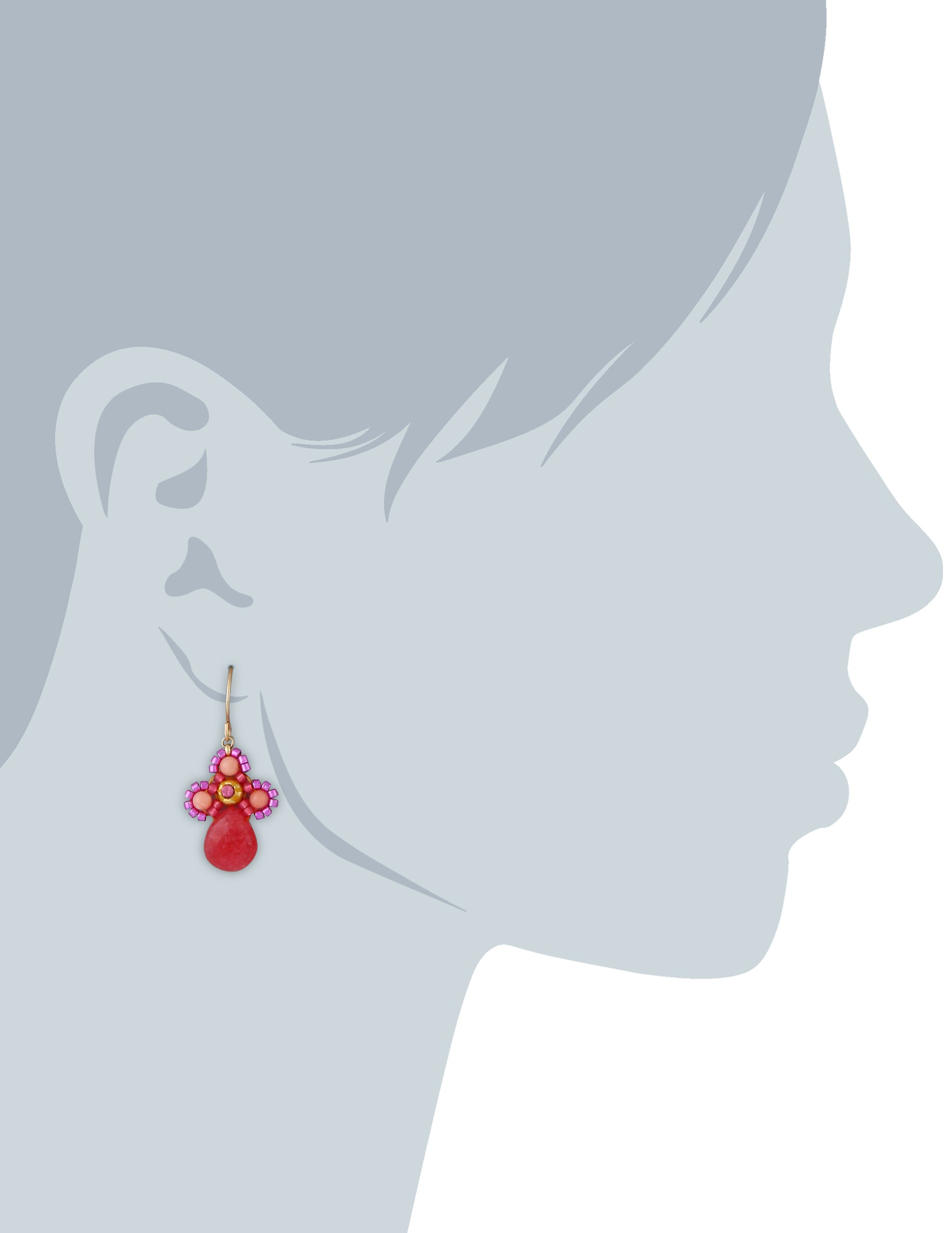 Miguel Ases Small Swarovski Center Pink Coral and Dyed Red Quartzite Miyuki Drop Earrings by Miguel Ases (Image #2)