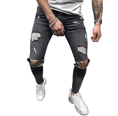 Tomatoa Herren Denim Jeans Stretch Denim Hosen Distressed zerrissen ausgefranste Slim Fit Zipper Jeans Hosen Männer Hosen Som