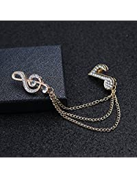 MonkeyJack Men's Musical Symbol Brooch Pin,Rhinestone Lapel Pins with Chain Ornament for Suit Corsage