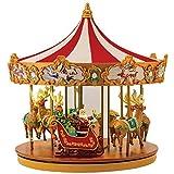 Very Merry Musical Carousel w/ LED's & Velveteen Canopy & Mirrored Center