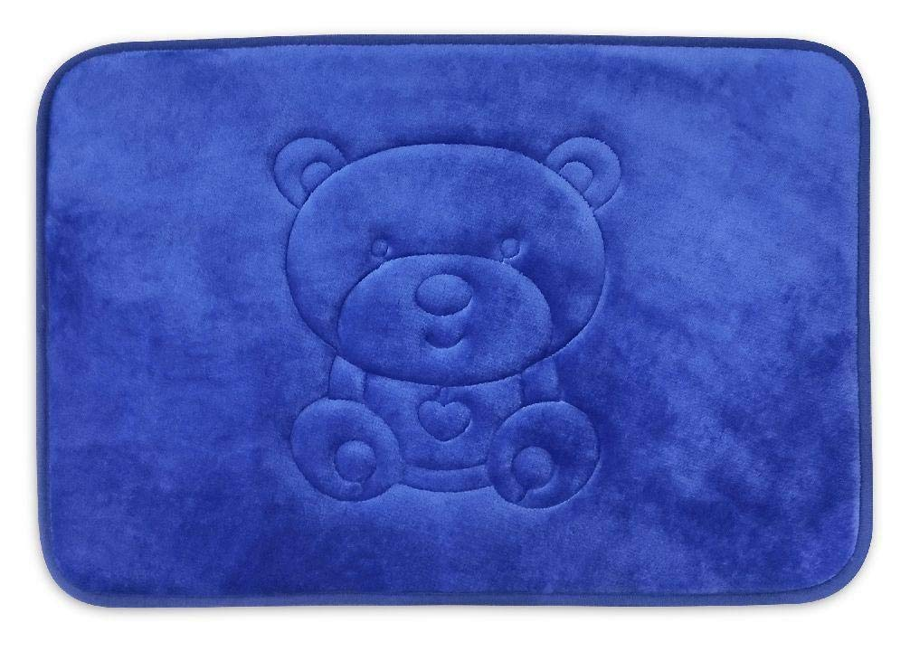 Teddy Bear Pattern Non Slip Memory Foam Accent Rug - for Bathroom, Playroom, Bedroom (16 x 24 inch) Bright Blue Color