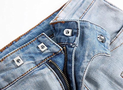 Agujeros Destruido Slim Hombre Pantalones Desgarrar Moto Vaqueros Zarco para Fit Ver TzqwHn1Cn