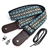 CLOUDMUSIC Hawaiian Blue Ukulele Strap With Ukulele Strap Buttons Black Leather...