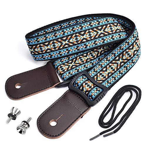 CLOUDMUSIC Hawaiian Blue Ukulele Strap With Ukulele Strap Buttons Black Leather Ends
