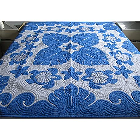 Hawaiian Quilt Full Twin Bedspread 100 Hand Quilted 100 Hand Appliqu D Wall Hanging 80