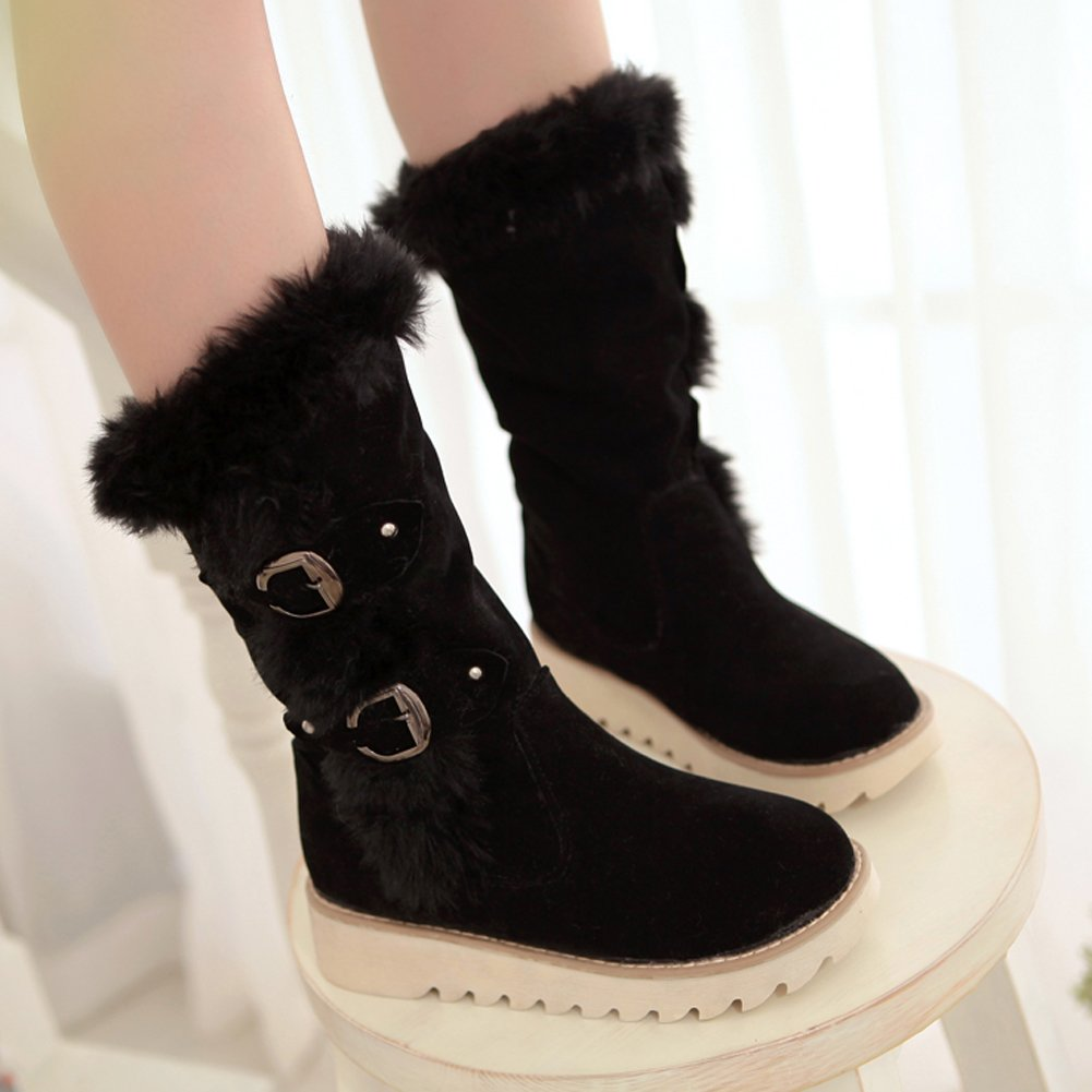 Platform Snow Boots Women Winter Warm Faux Fur Buckle Mid-calf Boots By BIGTREE