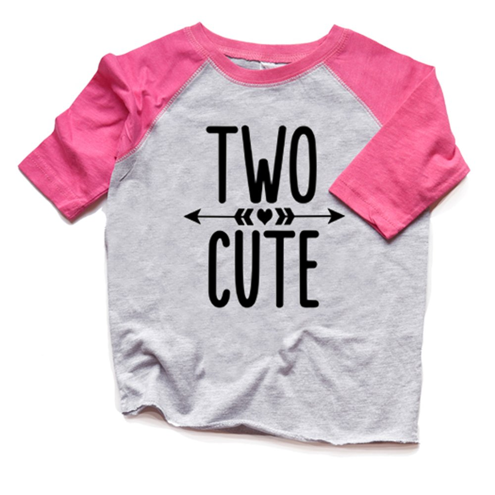 Amazon Two Cute 2nd Birthday Shirt Toddler Girl Raglan Tshirt Trendy Second Bday Tee 2 Heads Up Shirts Clothing