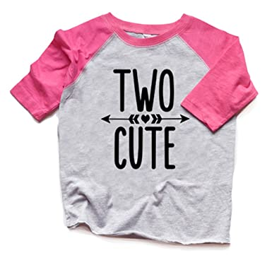 Two Cute 2nd Birthday Shirt Toddler Girl Raglan Tshirt Trendy Second Bday Tee 2 Heads Up