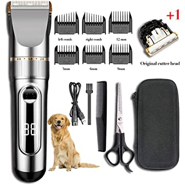 Ensving Dog Clippers,2-Speed Professional Rechargeable Cordless Electric Dog Grooming Kit,Low Noise Pet Clippers,Dog Cat Shaver, Whole Body Washable Dog Hair Trimmer with Scissors