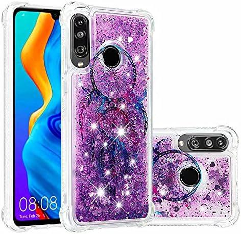 Ttimao Hoesje voor Huawei P30 Lite Glitter Drijvend Vloeibaar Drijfzand Telefoonhoes Transparant Zacht Siliconen TPU Vier Hoeken AntiVal Cover CaseColor Drop Windgong