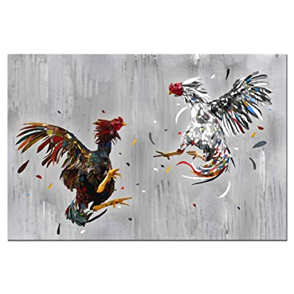 Levvarts Animal Canvas Wall Art Cock Fighting Picture Painting Rooster Art Prints Chicken Artwork Rustic Farmhouse Kitchen Decor Framed Ready To