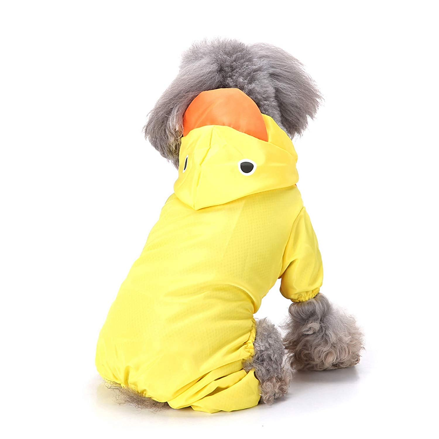 Zunea Small Dog Raincoat Waterproof Mesh Lined Rainwear with Hood Funny Rabbit Frog Duck Shark Shape Four Legs Slicker Costume Pet Rain Gear//Suit Puppy Jumpsuit With D Ring for Harness Leash Yellow XS