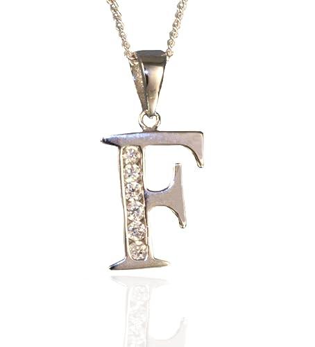 66feb650d444 Plata de Ley inicial letra F colgante y cadena de 45 cm.  Amazon.es  Joyería