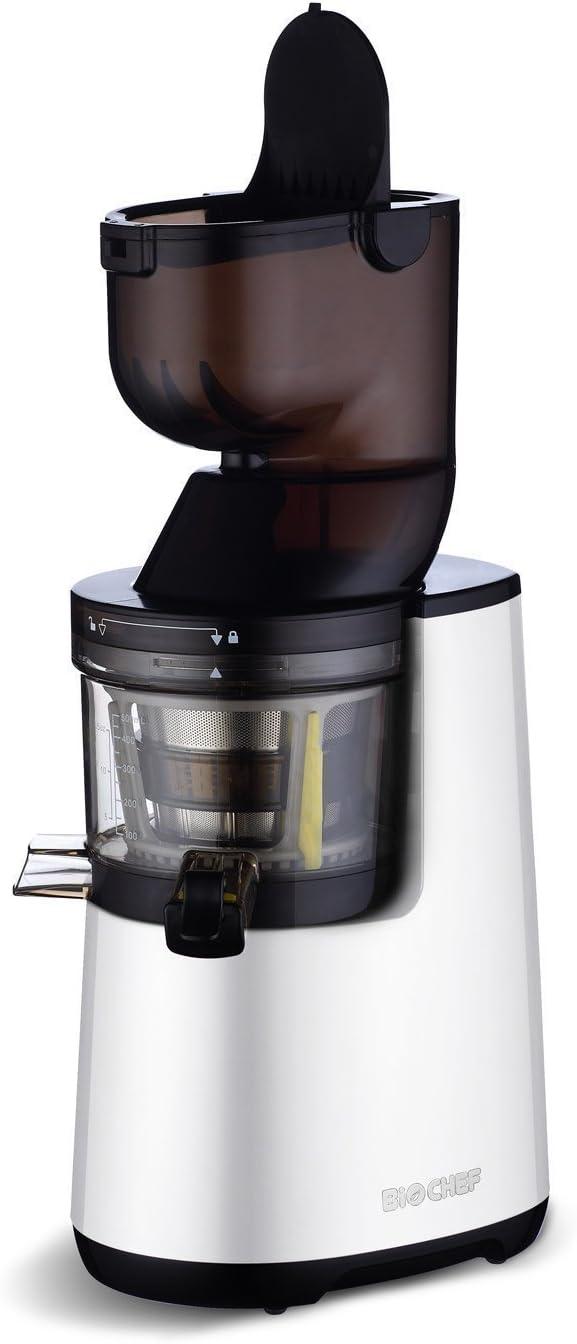 BioChef Atlas Whole Slow Juicer - extractor de zumos COLD PRESS, licuadora en frío ¡Exprime frutas enteras como manzanas, naranjas, zanahorias y remolachas! (Blanco) (Blanco)