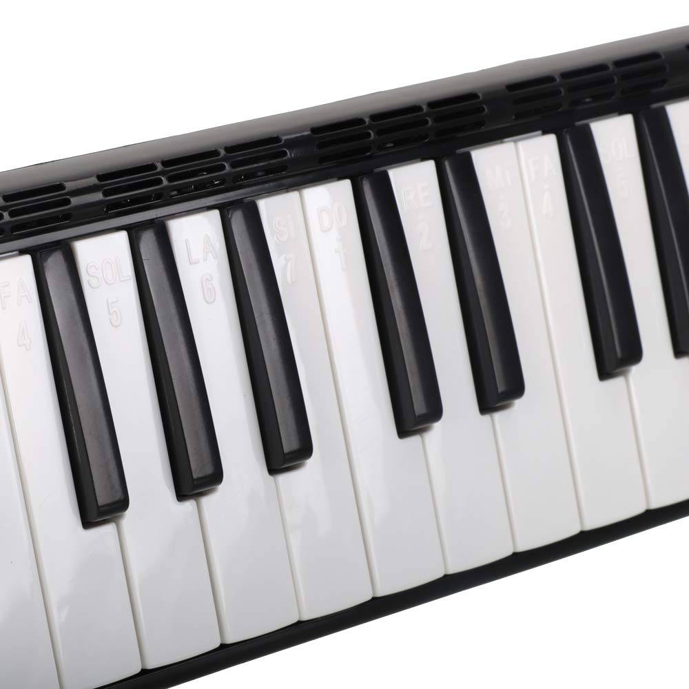 Glarry 37 Key Melodica Instrument Keyboard for Music Lovers with Mouthpiece with Hose Bag Black (37-key, Black) by Crownstar (Image #5)