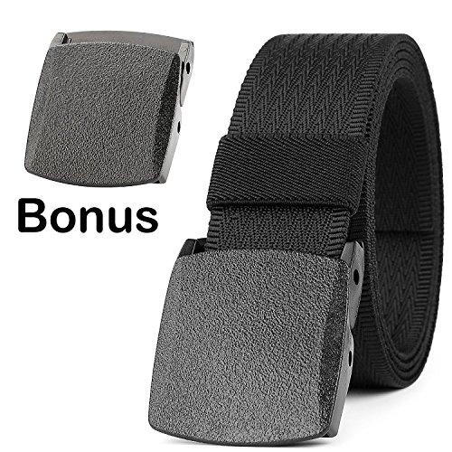 JASGOOD Unisex Nickel Free Belt 1.5 In Nylon Adjustable Web Belt with Plastic (Adjustable Web)