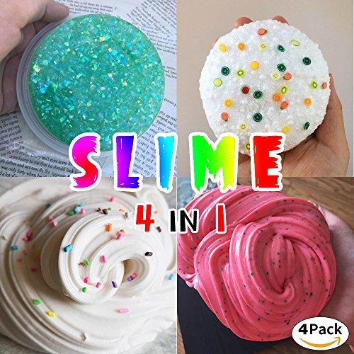 HSETIY Super Slime Kit - 4 Styles Slime(2.5 oz each,total 10oz) with Colorful Foam Balls, Gold sand Decoration, Pearl Decoration, Golden sand Glitter Shake Jars for DIY Slime