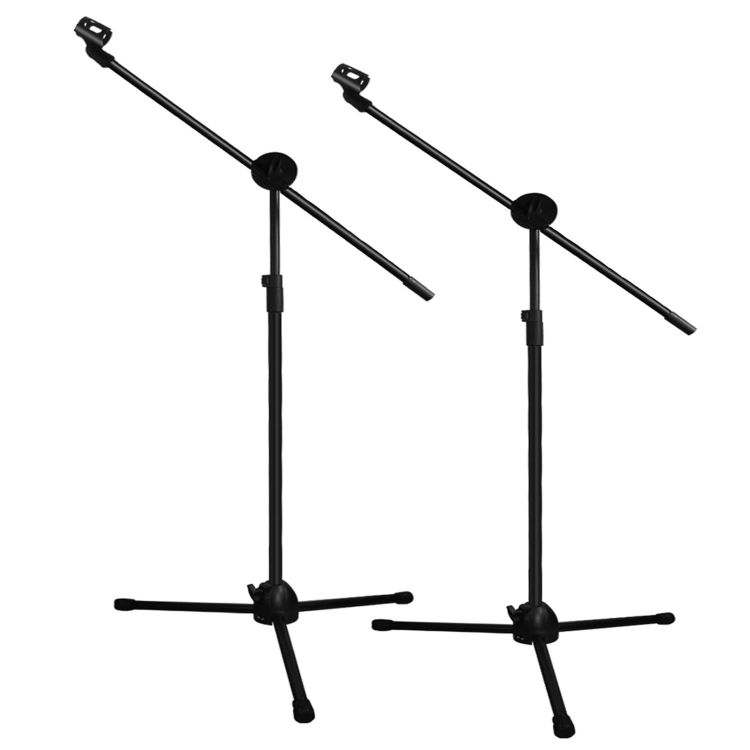 Ohuhu Tripod Boom Microphone Stand, Dual Mic Clip, Collapsible, Black, 2-Pack Y42-80200-04-CA