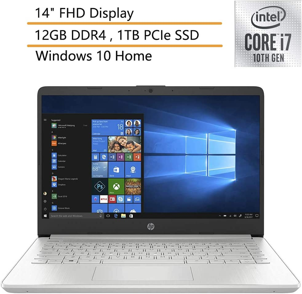 """2020 HP 14 14"""" FHD Laptop Computer, 10th Gen Intel Quard-Core i7-1065G7, up to 3.9GHz, 12GB DDR4 RAM, 1TB PCIe SSD, Silver, Windows 10, Online Class Ready, Webcam, Microphone, iPuzzle Mouse Pad"""