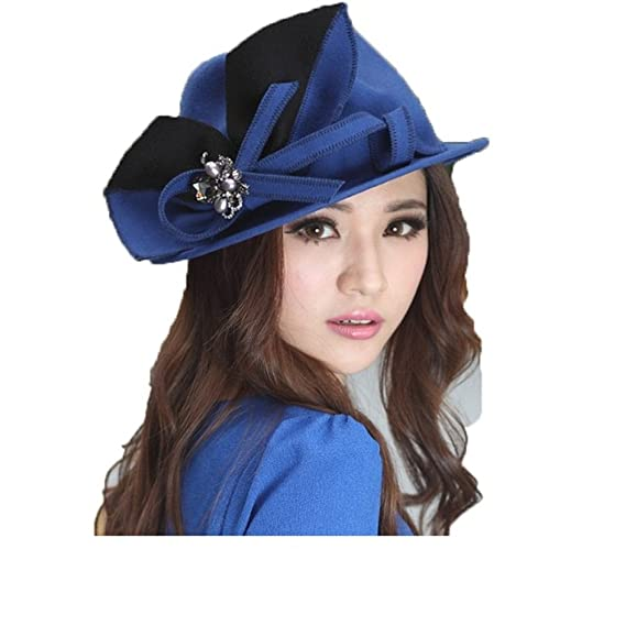 6b289f6df04 June s Young Women Wool Felt Hat Tea Party Weeding Bucket Trilby Fedora Hat  Winter Beret Hat (Royal blue black)  Amazon.co.uk  Clothing