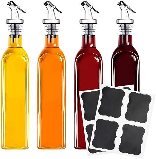 Lawei Juego de 4 botellas de vidrio con dispensador de aceite y ...