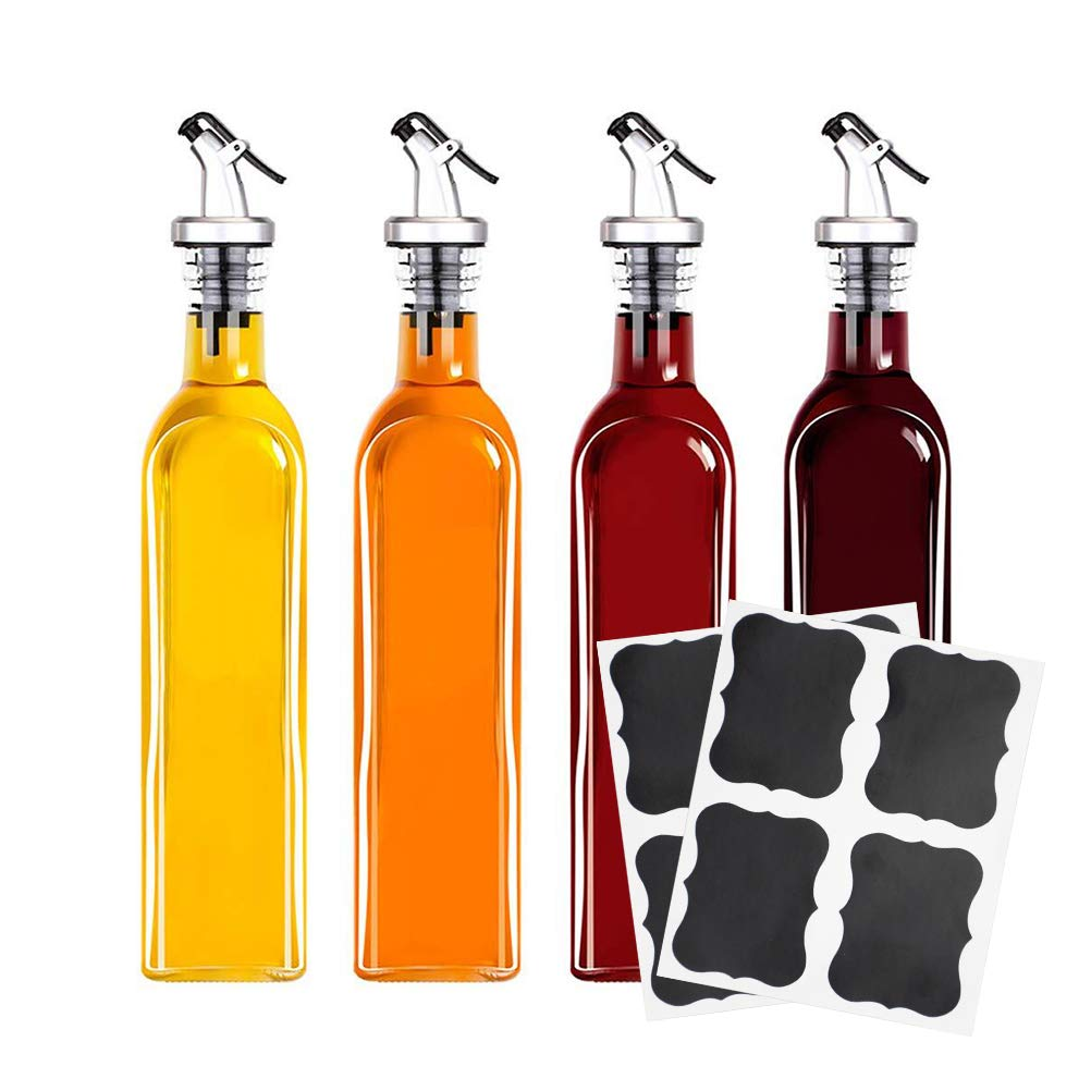 Tebery 4 Pack Oil and Vinegar Cruet Glass Bottles with Dispensers 17oz Oil and Vinegar Dispenser Set by Tebery