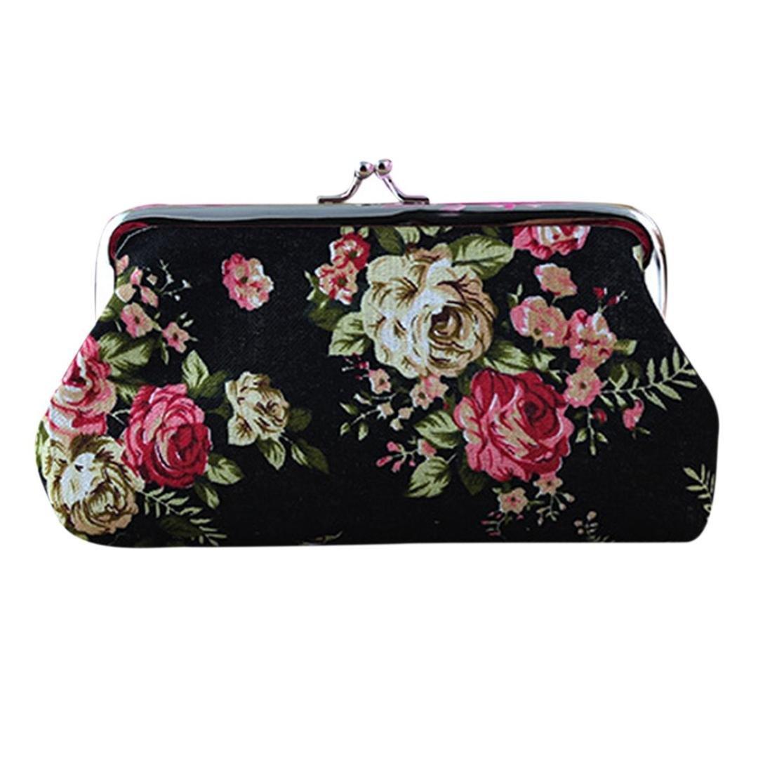 Wallet,toraway Lady Vintage Flower Mini Coin Purse Wallet Clutch bag (Black #1)
