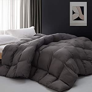 Grey Goose Down Alternative Comforter Checked Grid Pattern Box Quilted Duvet Insert Warm and Comfortable for All Seasons Hypoallergenic Microfiber Easy Washing Queen 90x90