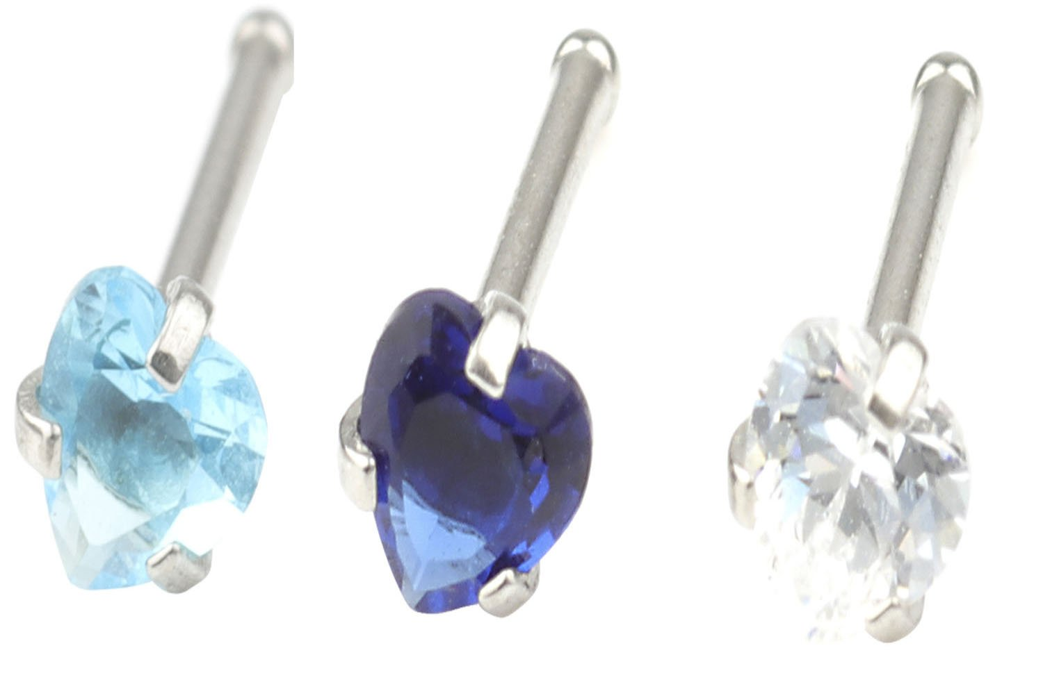 CM A+ 20G 3 Pcs Mix Stainless Steel Nose Rings Studs Piercing Body Jewelry 3mm Heart Shape Cubic Zirconia &8